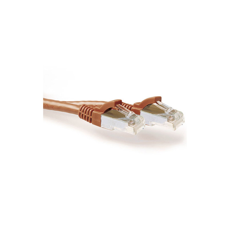 ACT Brown 10.00 meter SFTP CAT6A patch cable snagless with RJ45 connectors - FB2210