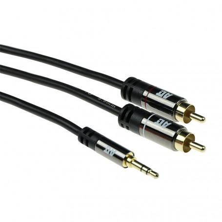 ACT Cable de conexión de Audio HQ 2x RCA macho a 1x Jack estéreo macho 2m - AK6230